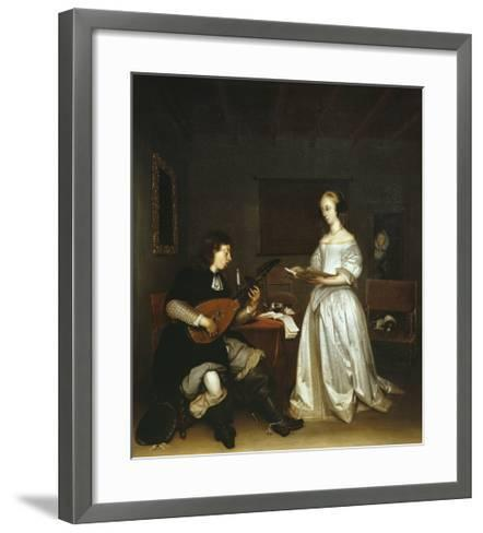 The Duet, Singer and Theorbo Lute Player, 1669-Gerard ter Borch-Framed Art Print