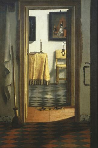 Les Pantoufles, the Slippers, or Interior View-Samuel van Hoogstraaten-Stretched Canvas Print