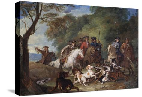 Wolf Hunting, Oil Sketch, C.1720-23-François Desportes-Stretched Canvas Print