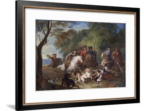 Wolf Hunting, Oil Sketch, C.1720-23-François Desportes-Framed Art Print