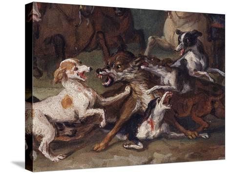 Wolf Attacked by Hounds, Wolf Hunting, Oil Sketch, C.1720-23-François Desportes-Stretched Canvas Print