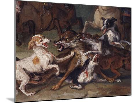 Wolf Attacked by Hounds, Wolf Hunting, Oil Sketch, C.1720-23-François Desportes-Mounted Giclee Print