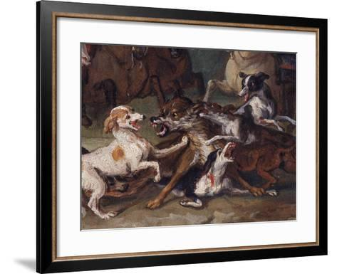 Wolf Attacked by Hounds, Wolf Hunting, Oil Sketch, C.1720-23-François Desportes-Framed Art Print