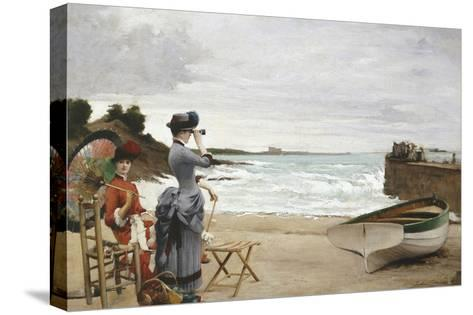 Elegant Ladies on the Beach, Undated-Jules-Charles Aviat-Stretched Canvas Print