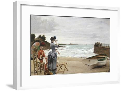 Elegant Ladies on the Beach, Undated-Jules-Charles Aviat-Framed Art Print