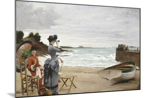 Elegant Ladies on the Beach, Undated-Jules-Charles Aviat-Mounted Giclee Print