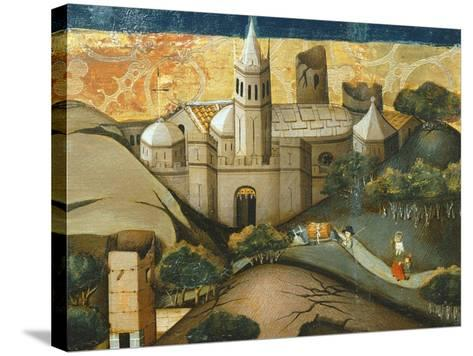 Landscape with Church, the Flight into Egypt, Verdu Retable, 1430-61, Llieda School, Detail-Jaime Ferrer-Stretched Canvas Print