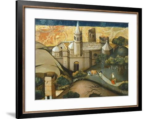 Landscape with Church, the Flight into Egypt, Verdu Retable, 1430-61, Llieda School, Detail-Jaime Ferrer-Framed Art Print