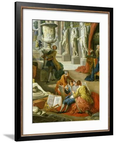 Drawing Students Copying Antiquities, from Gallery of Views of Ancient Rome, 1758-Giovanni Paolo Pannini-Framed Art Print