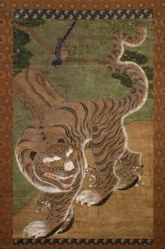 Tiger with Cubs, Ink on Silk, 18th Century, Choson Dynasty, Korea--Stretched Canvas Print