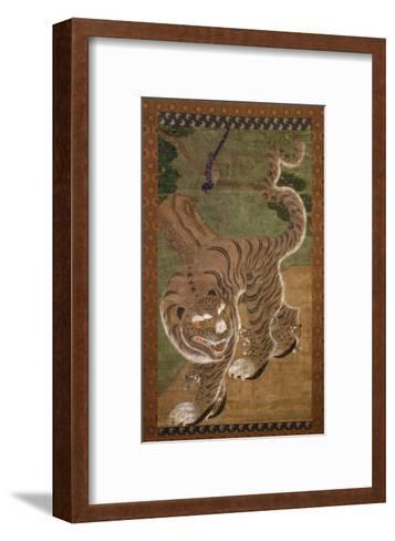 Tiger with Cubs, Ink on Silk, 18th Century, Choson Dynasty, Korea--Framed Art Print