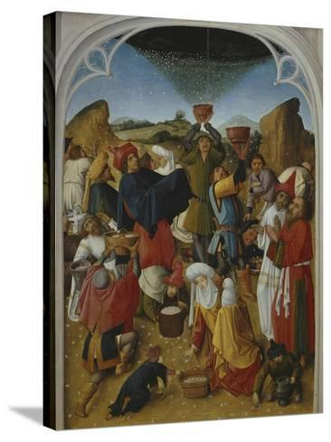 Gathering of the Manna, Oil on Wood, C. 1460-70- Master of the Manna-Stretched Canvas Print