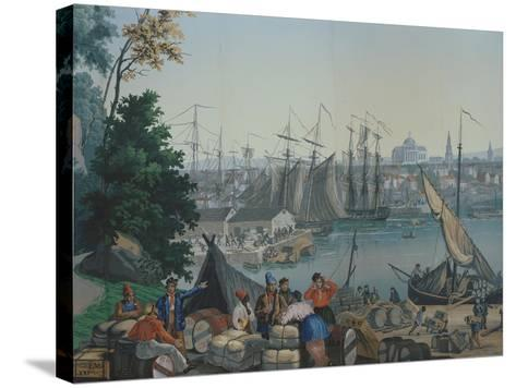 The Port of Boston in the United States of America, Painted Wallpaper, Made by Zuber at Mulhouse--Stretched Canvas Print