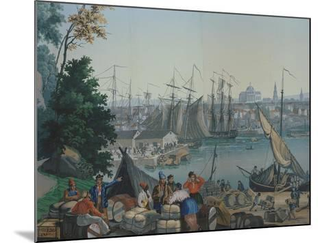 The Port of Boston in the United States of America, Painted Wallpaper, Made by Zuber at Mulhouse--Mounted Giclee Print