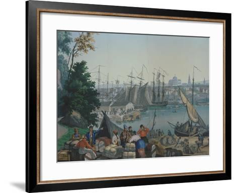 The Port of Boston in the United States of America, Painted Wallpaper, Made by Zuber at Mulhouse--Framed Art Print