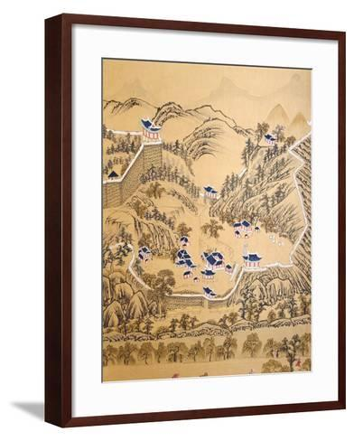 Town Fortified with Wall, from the Governor's Visit to Pyongyang, 8 Panel Screen, 19th Century--Framed Art Print