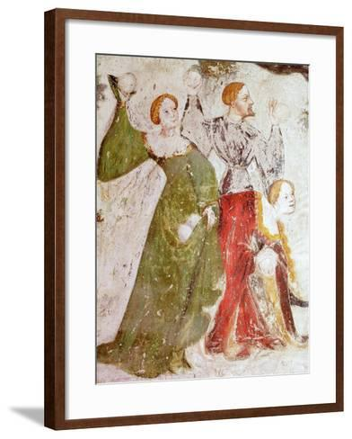 January or Aquarius with Courtiers in Snowball Fight Outside Stenico Castle- Venceslao-Framed Art Print