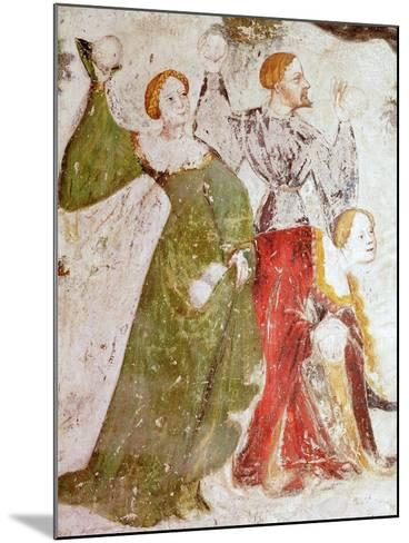 January or Aquarius with Courtiers in Snowball Fight Outside Stenico Castle- Venceslao-Mounted Giclee Print