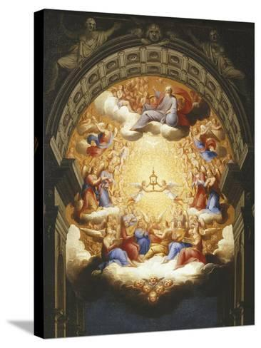 Sunrise on the New Testament, the Eucharist in a Monstrance Carried by Two Angels-Italian School-Stretched Canvas Print