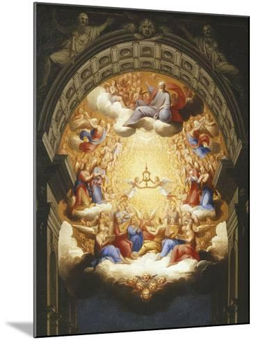 Sunrise on the New Testament, the Eucharist in a Monstrance Carried by Two Angels-Italian School-Mounted Giclee Print