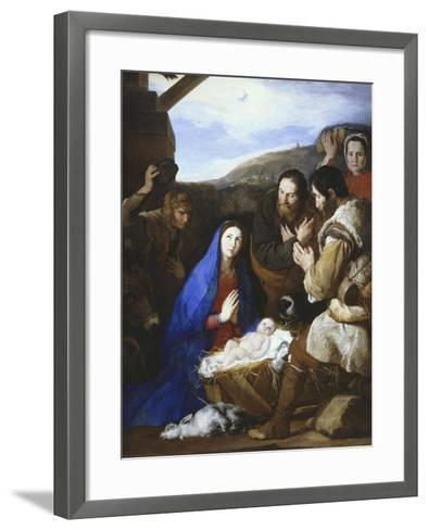 Adoration of the Shepherds, 1650-Jusepe de Ribera-Framed Art Print