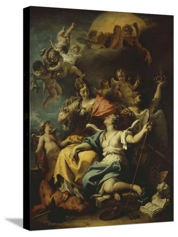 Allegory of France Below Minerva, Who Treads on Ignorance and Crowns Virtue, 1717-18-Sebastiano Ricci-Stretched Canvas Print