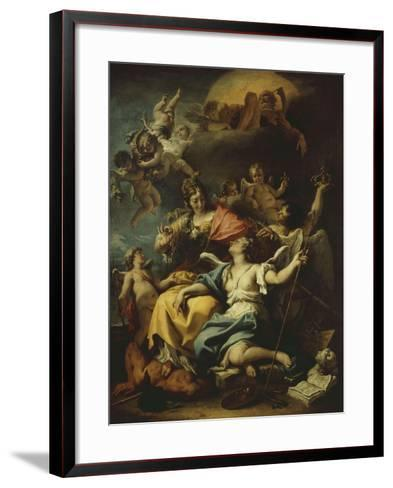 Allegory of France Below Minerva, Who Treads on Ignorance and Crowns Virtue, 1717-18-Sebastiano Ricci-Framed Art Print