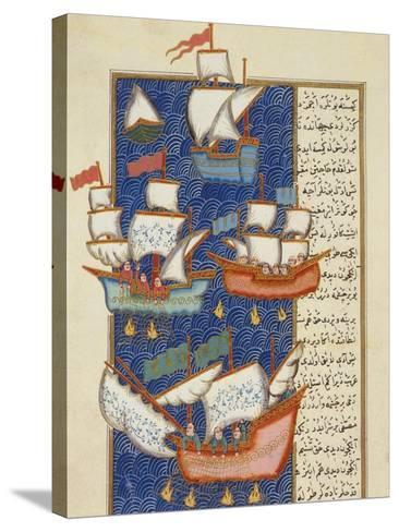 Fishermen at Sea on Large Sailing Ships, 16th Century, Ottoman Miniature of the Anatolian School--Stretched Canvas Print
