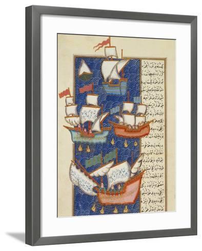 Fishermen at Sea on Large Sailing Ships, 16th Century, Ottoman Miniature of the Anatolian School--Framed Art Print