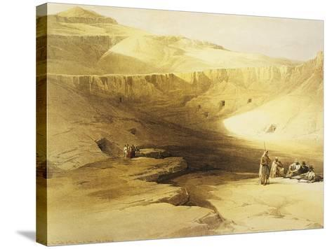 Entrance to the Valley of the Kings, Biban El Muluk, Egypt, Lithograph, 1838-9-David Roberts-Stretched Canvas Print