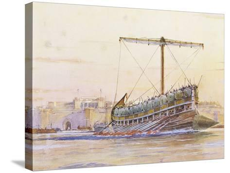 Assyrian Galley, Watercolour Reconstruction, Late 19th - Early 20th Century-Albert Sebille-Stretched Canvas Print