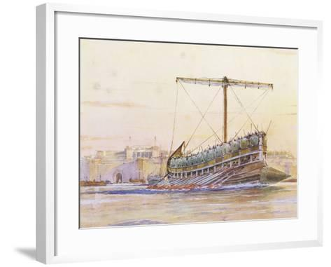 Assyrian Galley, Watercolour Reconstruction, Late 19th - Early 20th Century-Albert Sebille-Framed Art Print