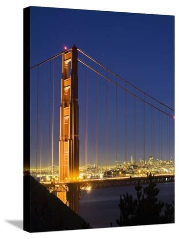 The Golden Gate Bridge and San Francisco at Night-James Forte-Stretched Canvas Print