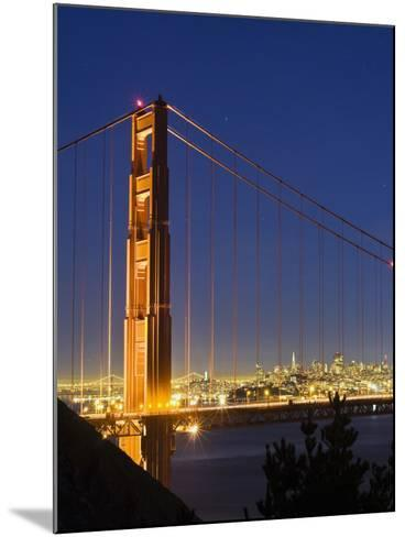 The Golden Gate Bridge and San Francisco at Night-James Forte-Mounted Photographic Print