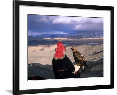 A Kazakh Eagle Hunter with His Bird in the Winter-David Edwards-Framed Art Print