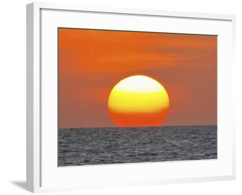 Close Up of the Sun Setting over the Gulf of Mexico-Mike Theiss-Framed Art Print