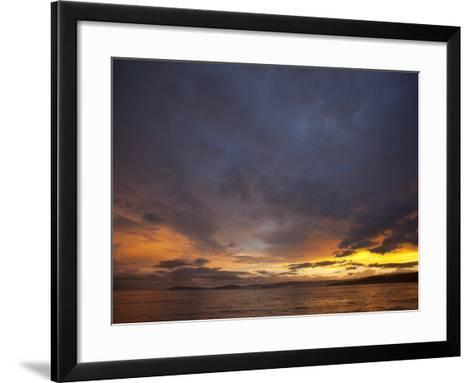 Sunset over the Pacific Ocean by Osa Peninsula-Michael Melford-Framed Art Print