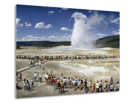Crowds of Tourists Flock around the Erupting Old Faithful Geyser-Jonathan Blair-Metal Print