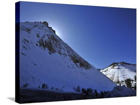 Snow Covered Checkerboard Mesa in Zion National Park-Raul Touzon-Stretched Canvas Print