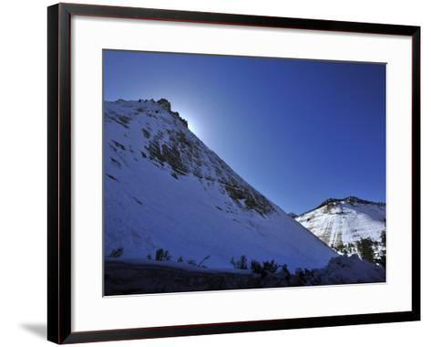 Snow Covered Checkerboard Mesa in Zion National Park-Raul Touzon-Framed Art Print