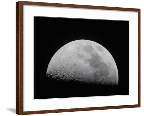 A Close Up of Earth's Moon and it's Numerous Impact Craters and Pits-Mike Theiss-Framed Art Print