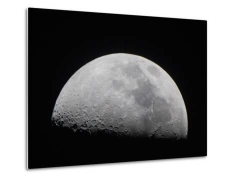 A Close Up of Earth's Moon and it's Numerous Impact Craters and Pits-Mike Theiss-Metal Print