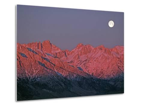 The Moon Sets at Sunrise over the Sierra Nevada and Mount Whitney-Gordon Wiltsie-Metal Print