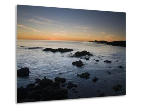 Sunset over the Pacific Ocean and Coast of Piedras Blancas, California-James Forte-Metal Print