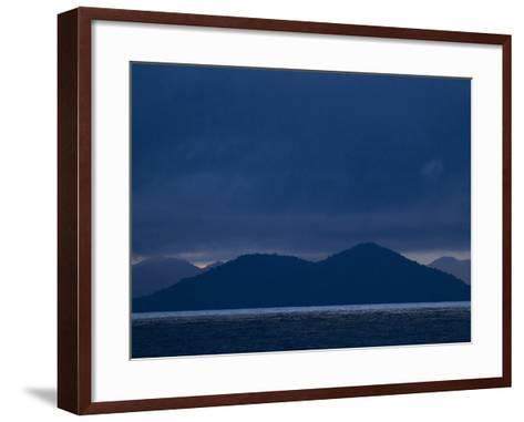 The West Coast of Panama in Monochromatic Blues-Michael Melford-Framed Art Print