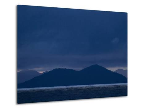 The West Coast of Panama in Monochromatic Blues-Michael Melford-Metal Print