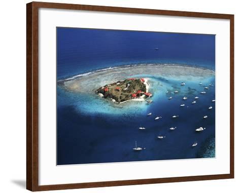 Aerial View of Marina Cay Island and Fringing Reef-Mauricio Handler-Framed Art Print