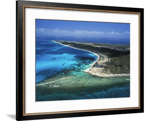 Aerial View of the Coral Barrier Reef Just Off Grand Turk Island-Mauricio Handler-Framed Art Print