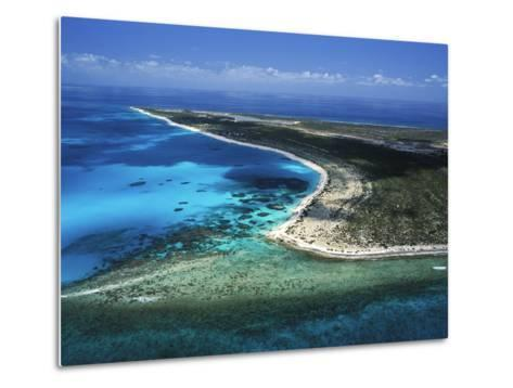 Aerial View of the Coral Barrier Reef Just Off Grand Turk Island-Mauricio Handler-Metal Print