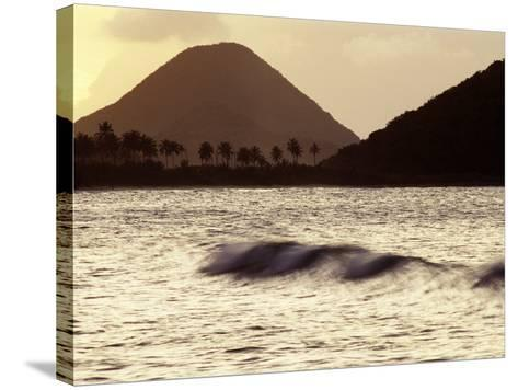 Surf Breaking at Sunset at Long Bay Beach-Mauricio Handler-Stretched Canvas Print